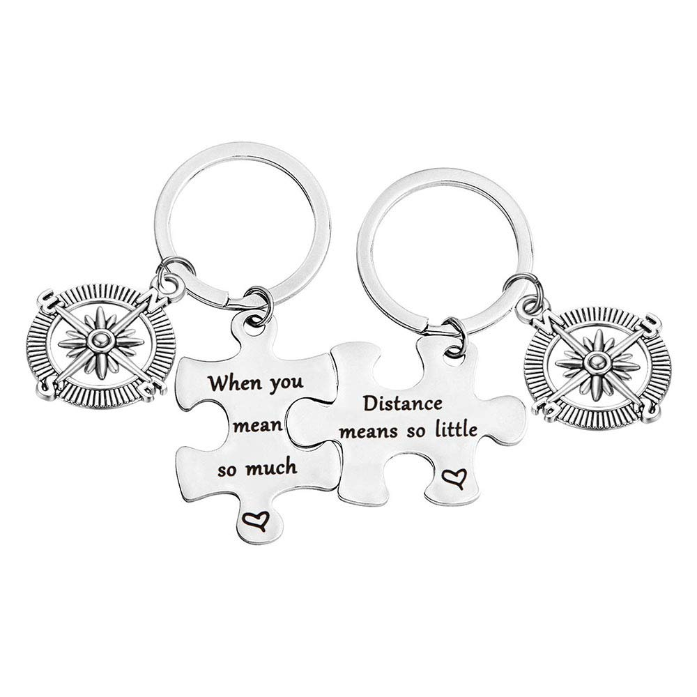 bobauna Distance Means So Little When You Mean So Much Keychain Set Long Distance Gift Couples Best Friends (Distance Keychain Set)