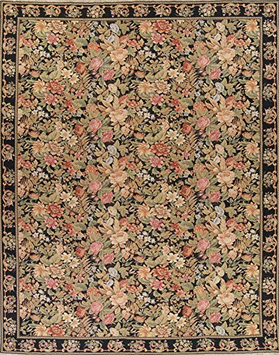 One-of-A-Kind New Savonnerie All-Over Transitional Hand-Woven 12x16 Black Wool Oriental Area Rug (15' 8