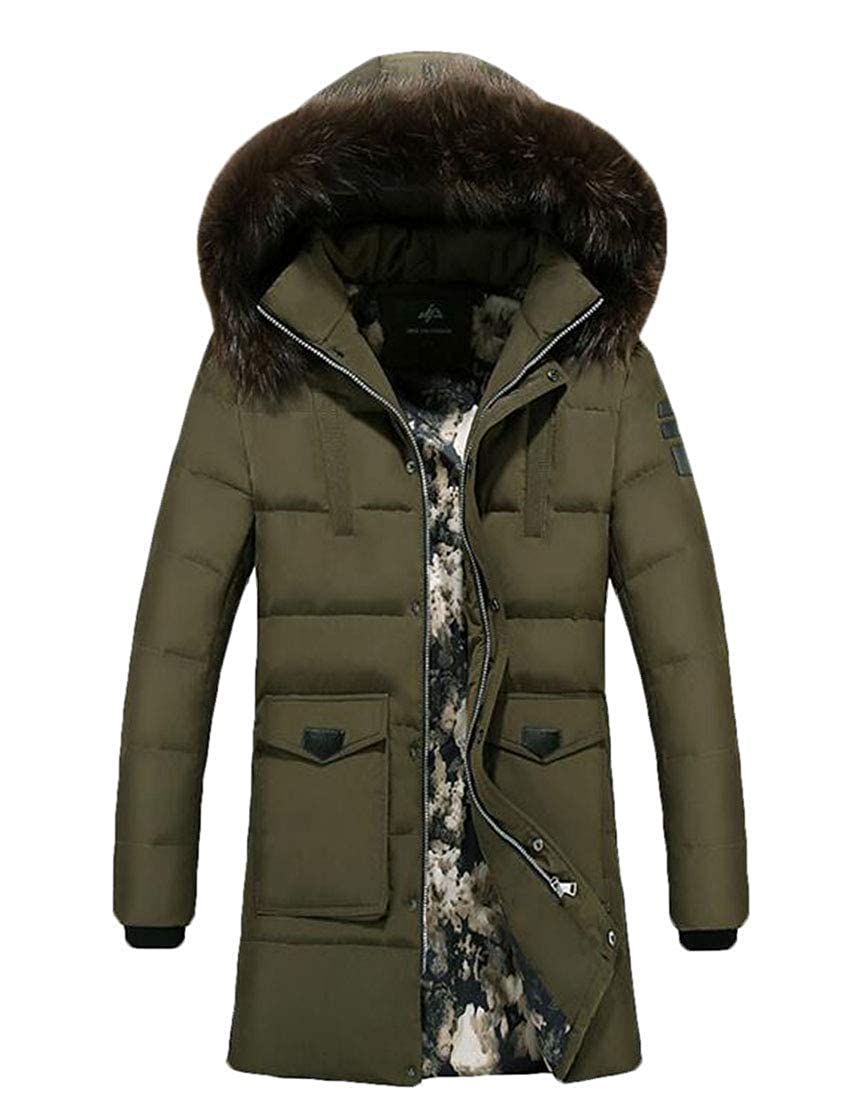 BU2H Men Winter Faux Fur Lined Hooded Parka Coats Outdoor