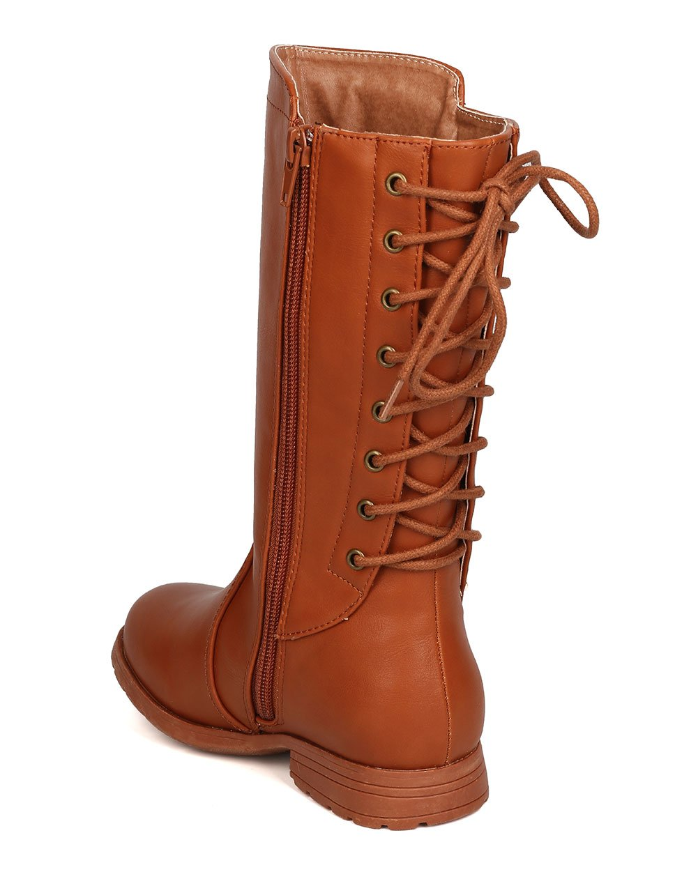 Girls Leatherette Back Lace Up Tall Riding Boot GB45 - Cognac (Size: Big Kid 3) by Little Angel (Image #3)