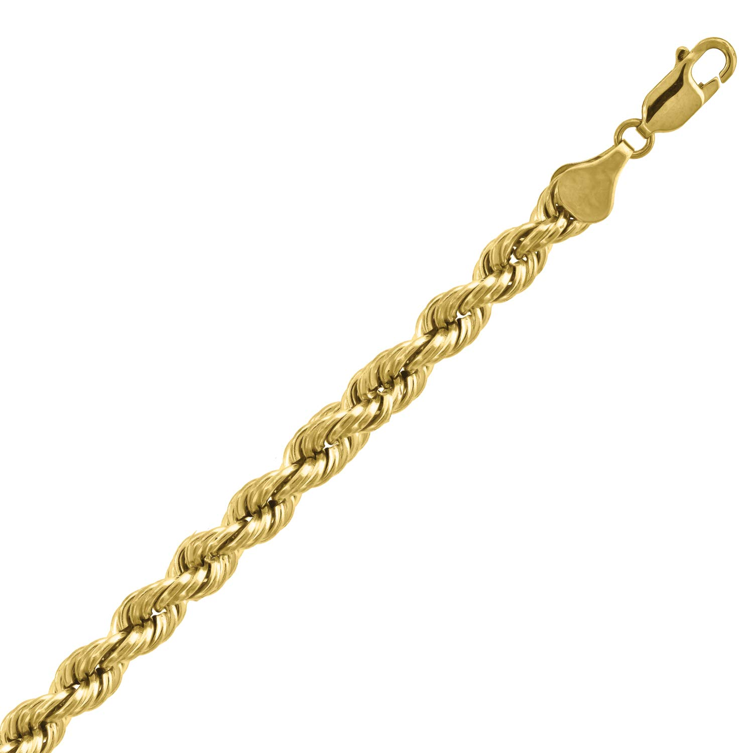 10kt Yellow Gold Mens Hollow Rope Bracelet 6mm-9''