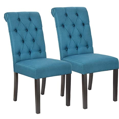 Stupendous Homegear Parsons Style Tufted Upholstered Large Dining Side Chairs Set Of 2 Blue Uwap Interior Chair Design Uwaporg