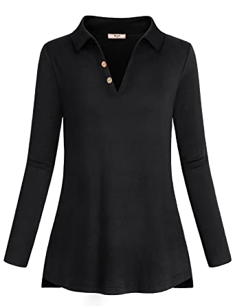4e806449b6 Miusey Long Sleeve Tops for Women, Ladies Clothes V Neck Lightweight  Sweatshirt Solid Color Shirred