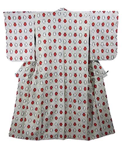 詐欺師労苦異常リサイクル 着物 銘仙 正絹 袷 紅白の壺 裄62cm 身丈146cm