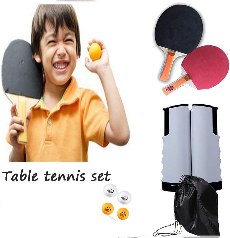 BCQ Conjunto de Pingpong Set Portátil, Cancha De Ping Pong Instantánea, 2 Raquetas + 4 Tenis De Mesa + 1 Estante Deportes Interiores Y Exteriores, Juguetes De Tenis De Mesa para El Hogar