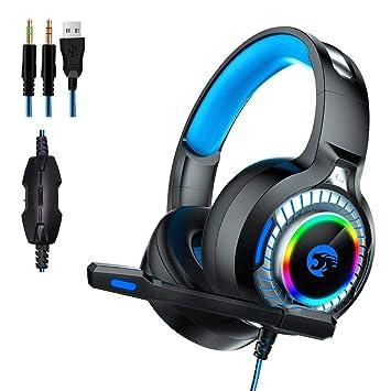 Auriculares de Juegos,A60 Cascos Gaming Headset Para PC con Micrófono LED Gaming Reducción de