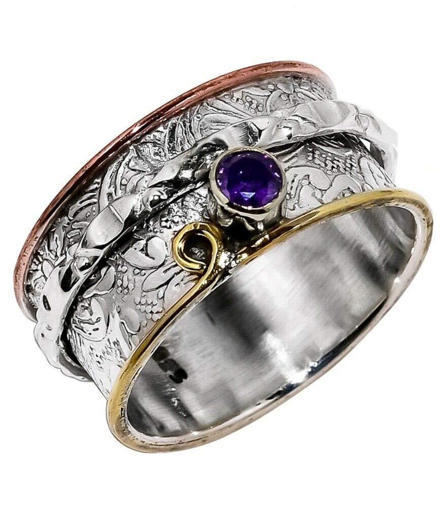Gypsy Ring Spinner Ring Women Ring Thumb Ring Amethyst Ring Worry Ring Fidget Ring Statement Ring Handmade Ring Dainty Ring