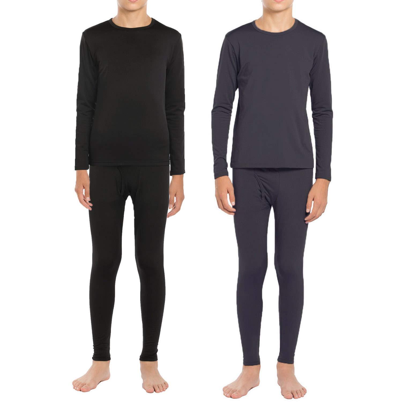 ViCherub Boys Thermal Underwear Set Fleece Lined Long Johns Kids Top /& Bottom Knit Base Layer Winter Warm Sets for Boy Charcoal