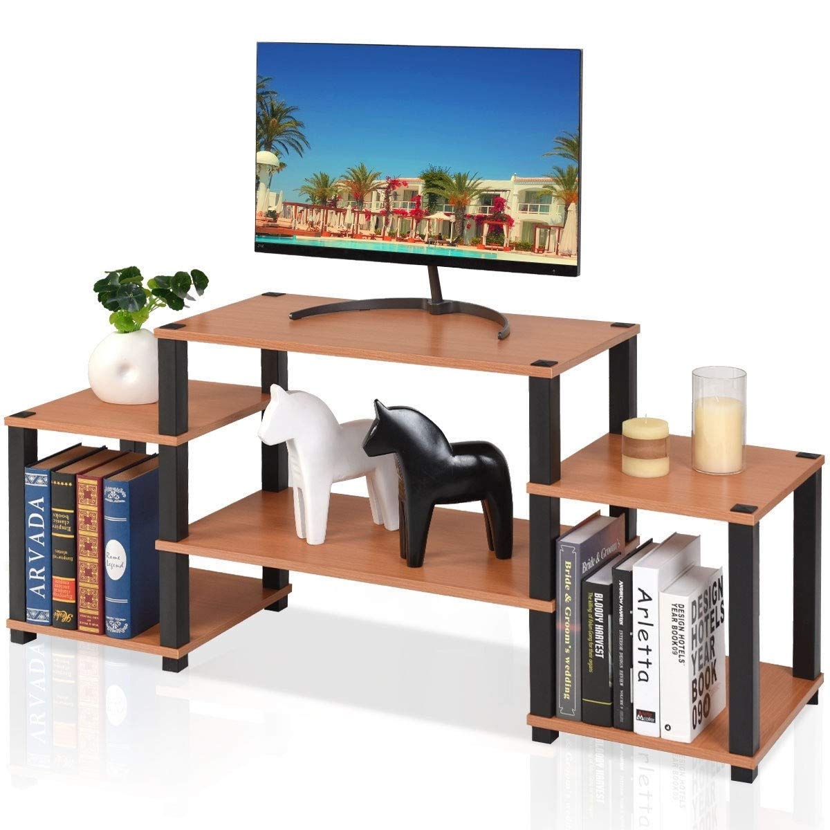 KING77777 Durable and Sturdy Construction 57'' L TV Stand Console Furniture Multi- Function Storage Organizer Cabinet by KING77777 (Image #4)