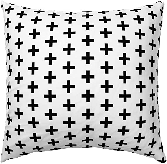 Amazon Com Roostery Pillow Sham Cross Black And White Plus Sign Swiss Print 100 Cotton Sateen 26in X 26in Knife Edge Sham Home Kitchen