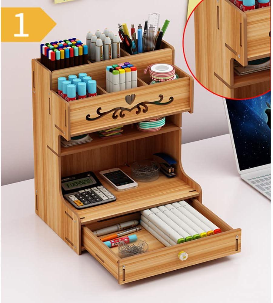 Schreibtisch-Organizer aus Netzgewebe multifunktionaler Stifthalter mit Schublade Style 1 Stil 1 blau