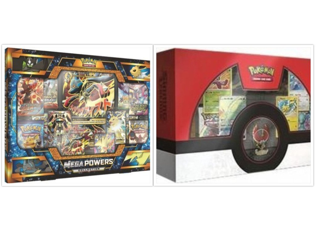Pokemon Trading Card Game Mega Powers Collection Box and Shining Legends Ho-Oh Super Premium Collection Box Bundle, 1 of Each by FED USA Gaming