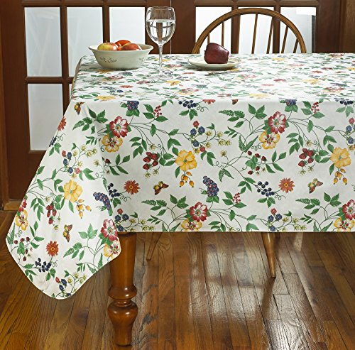 HomeCrate Enchanted Garden Vinyl Tablecloth Soft Flannel Backing - 60