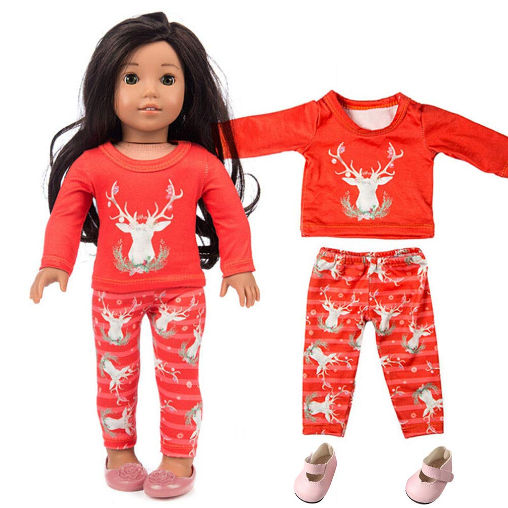 Amazon Com Livoty 3pcs Doll Clothes Outfit Set Chirstmas Clothes