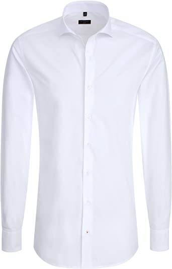 Eterna Hombres Slim Fit Camisa en popelín Uni Blanco