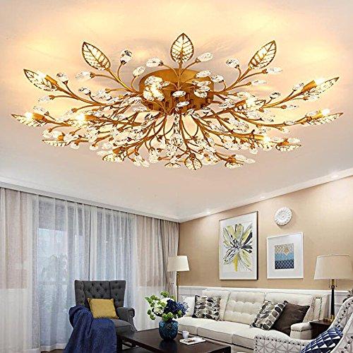 Crystal Gold Leaf Chandelier - Diy FamilyModern Crystal LED Ceiling Lamp,Leaf Flush Mount Ceiling Light Fixture Decorative Crystal Chandelier For Dining Room Bedroom Livingroom Pendant Light(15-head) (Gold)