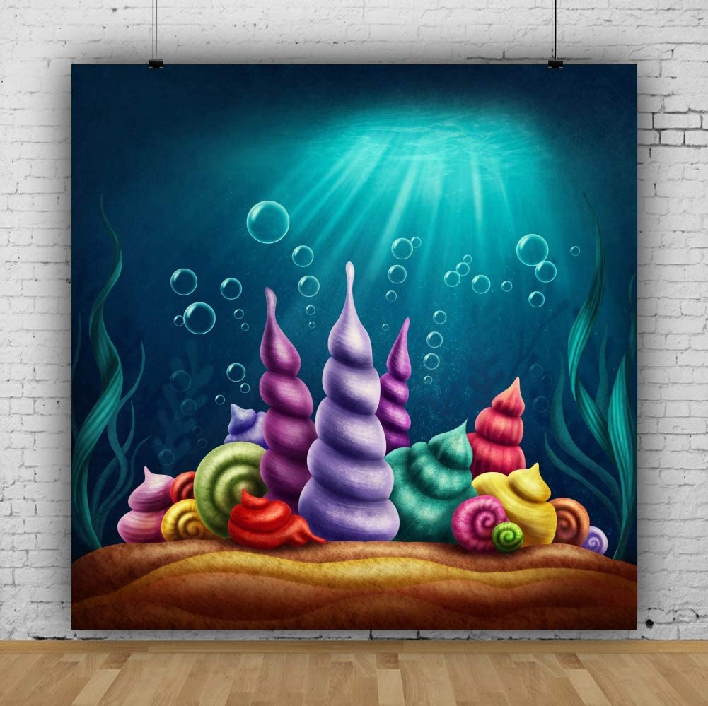 AOFOTO 10x10ft Cartoon Under Sea Conch Backdrop Baby Shower Photo Booth Big Sea Snails Air Bubbles Background Cloth for Photography Kids Boy Girl Birthday Party Decorations Photo Studio Props