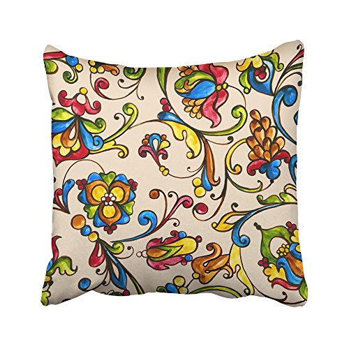 Emvency Decorative Throw Pillow Covers Cases Monogram Watercolor Italian Majolica on the in Yellow Orange and Cobalt Colors with Slavonic Plant 20X20 Inches Pillowcases Case Cover Cushion Two Sided (Sawtooth Monogram)