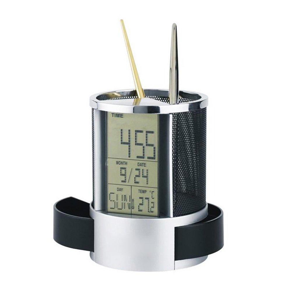 Rokoo Multifunktions Stift Bleistift Halter Digitale Kalender Wecker Zeit Temp Funktion Metall Mesh F/ür Home Desk B/ürobedarf