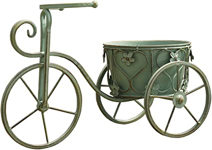 YSNUK Soporte de Flores Maceta Retro Verde Bicicleta Antigua ...