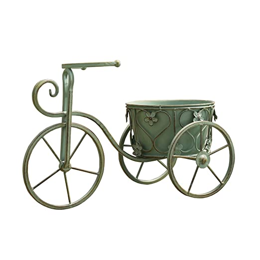 MXueei Puesto de flores ZfgG Maceta Retro Verde Bicicleta Antigua ...