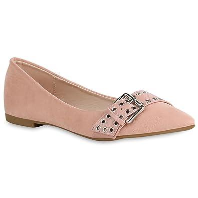Spitze Damen Schuhe Ballerinas Klassische Slip Ons Wildleder-Optik 156535 Rosa Bernice 37 Flandell H1za94