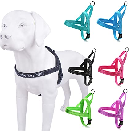 2e69a244b45b Amakunft Reflective Durable Customize Dog Harness with Name, Embroidered  Name Phone Number Pet Collar,