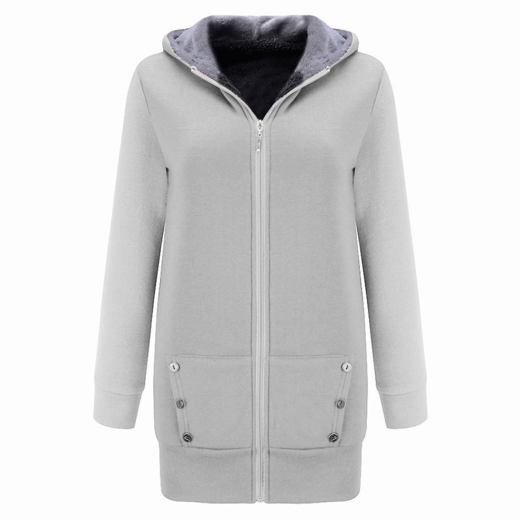 Xchenda Women Winter Warm Fur Oversized Coat Outwear Velvet Thicker Hoodie Jacket Sweatshirt Overcoat (XXL, Gray)