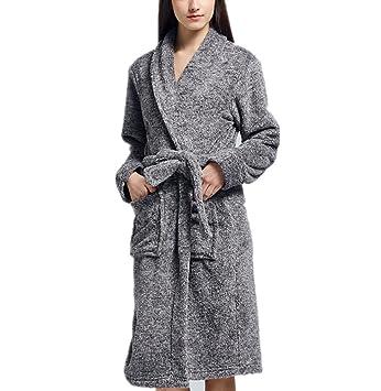 RZ.hs Las Mujeres de Invierno Larga Franela Kimono Bata de Dormir Ropa de Dormir Albornoz Gruesa Bata de casa: Amazon.es: Deportes y aire libre