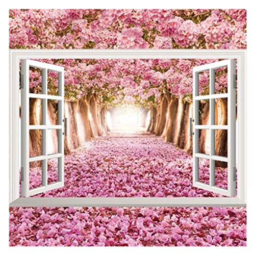 (Removable 3D Window Wall Decals, DIY View Art Mural Wall Stickers, Kids Room Decor Bedroom Decal Wallpaper (Pink))