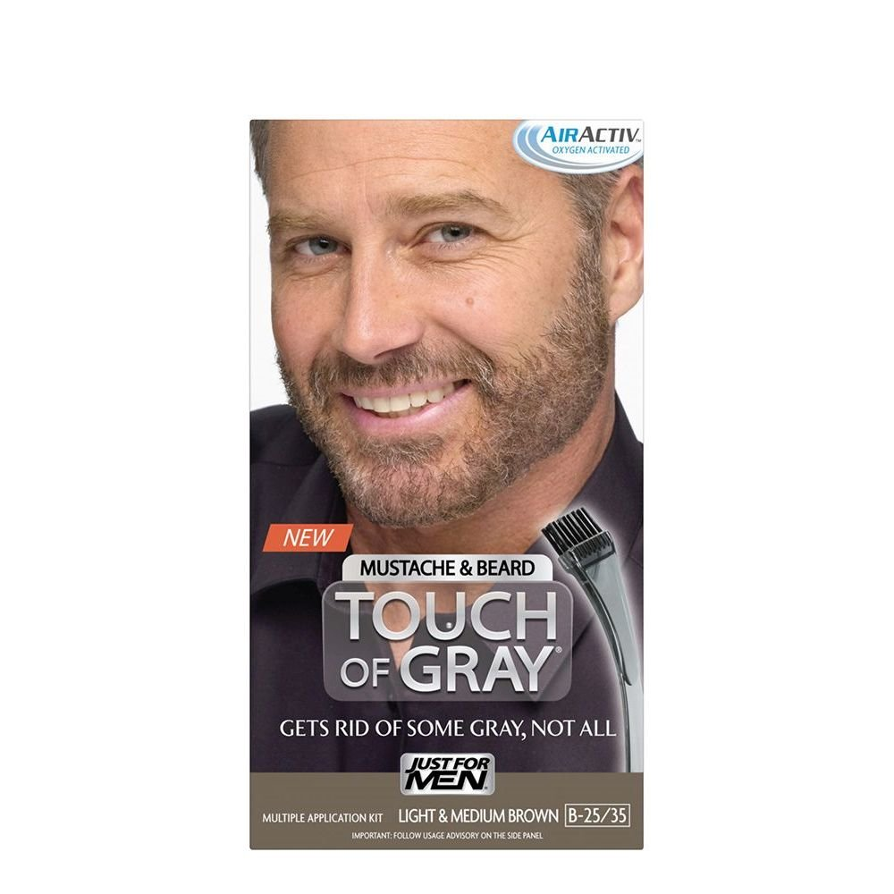 Just for Men Touch of Gray Brush-In Mustache & Beard Color Kit, Light & Medium Brown 011509041524
