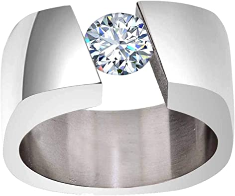 FlameReflection 8mm Tungsten Carbide Mens Wedding Band Round Cubic Zirconia Solitaire