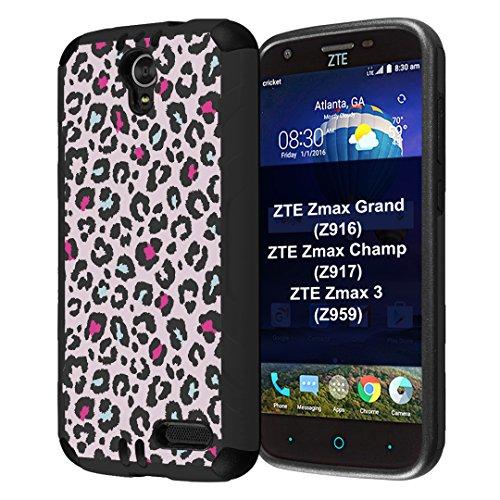 ZTE ZMAX Grand Case, ZMAX Champ Case, ZMAX 3 Case, Capsule-Case Hybrid Dual Layer Slim Defender Armor Combat Case (Black) for ZTE ZMAX Grand/ZMAX Champ/ZMAX 3 - (Pink (Hybrid Grande)