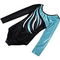 Lovoski Kid Girls Unitards Leotard Long Sleeve Gymnastics Dancewear Costume Purple - Blue, 10(9-10Y)