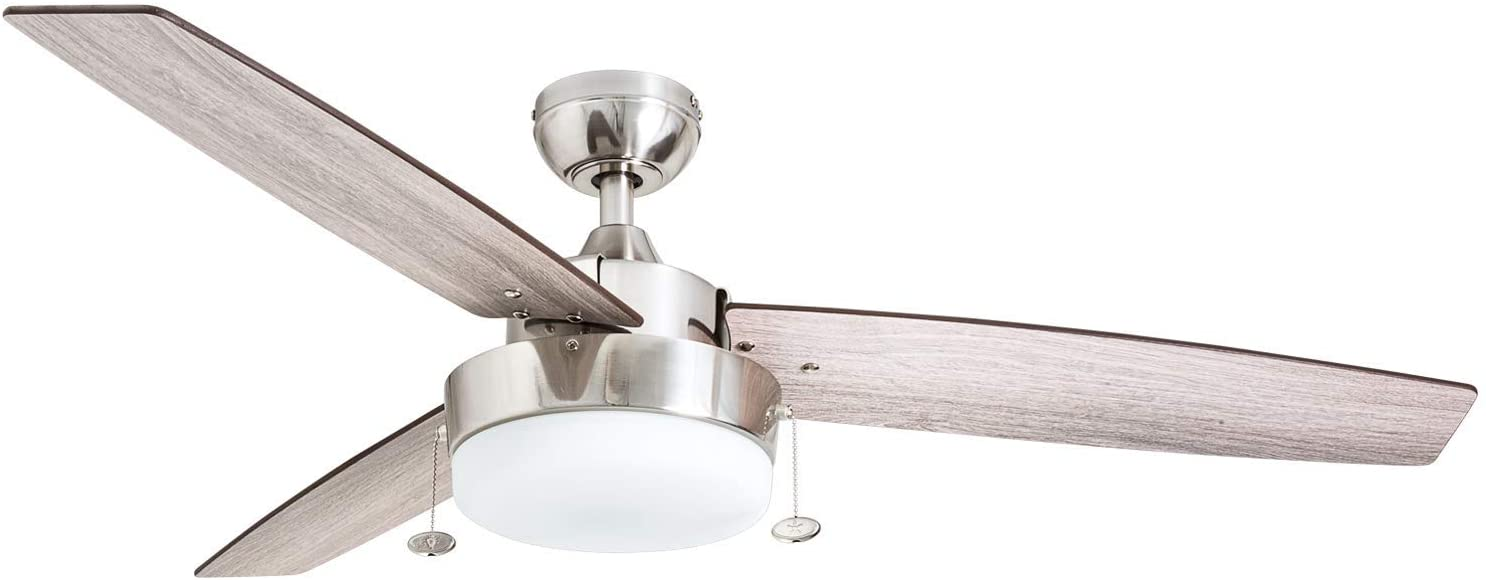 "Prominence Home 51019 Statham Modern Farmhouse Ceiling Fan, 52"", Brushed Nickel"