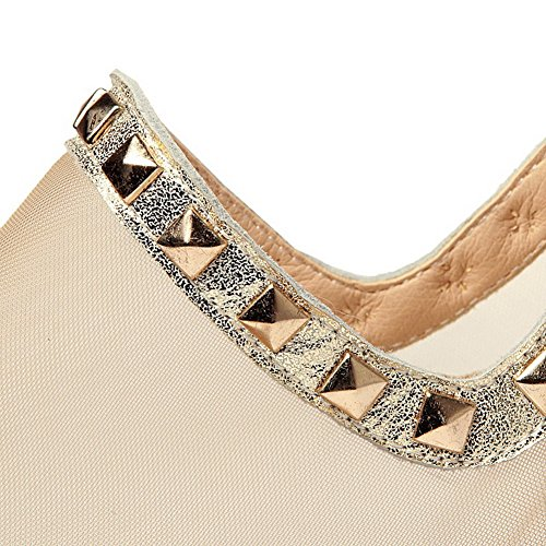 AmoonyFashion Womens Zipper Peep Toe Low-heels Sheepskin Solid Sandals Gold xUe7Qr