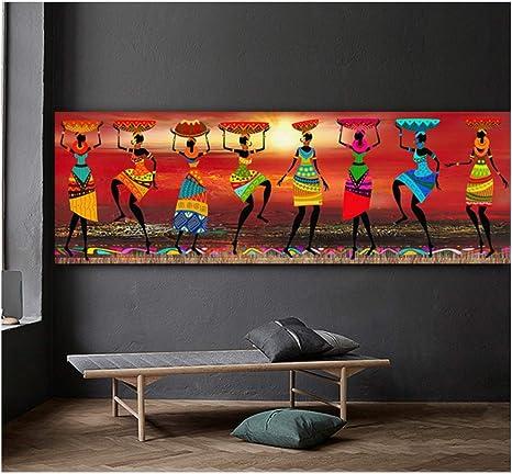 Tribal Art Paintings African Women Dancing Picture Pittura ad olio per soggiorno Stampa su tela Home Decor-70x140cm Senza cornice
