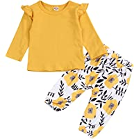 YOUNGER TREE Kids Newborn Toddler Baby Girls Fall Outfits Ruffle Long Sleeve T-Shirt+Floral Print Pants Winter Clothes Set (Yellow, 6-12 Months)