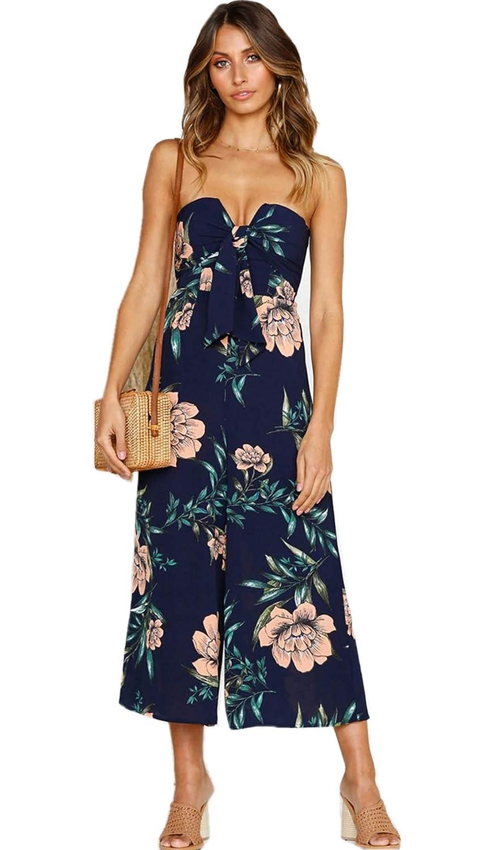 90ebeb91c316 Amazon.com  Asskdan Women s Off Shoulder Strapless Backless Tie Front Floral  Print Wide Leg Pants Jumpsuit Romper  Clothing