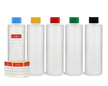 5 x 250 ml Octopus HDPE botellas de plástico con multicolores agarraderas, redondas botellas de
