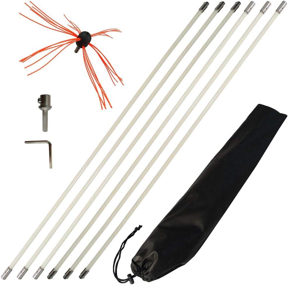 Flexible Flue Brush Rods Chimney Brush-Kit Chimney Sweep Soot Cleaning-Rod