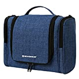 SONGMICS Travel Hanging Toiletry Bag, Large Makeup Organizer with 9 Storage Compartments for Men and Women,With Sturdy Hanging Hook (Blue) UBTB02BU