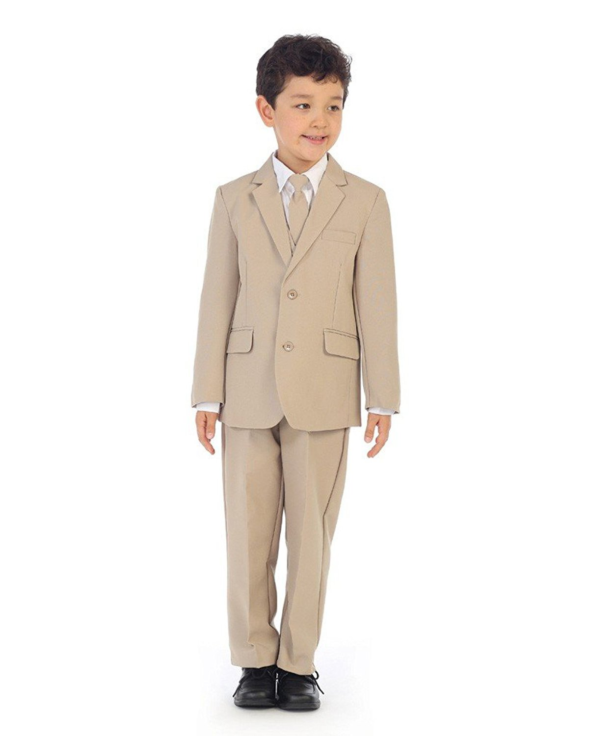 iGirldress Boys Slim Fit 5-Piece Formal Suit Set with Matching Neck Tie Khaki Size 10