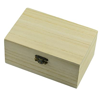 Baoblaze Unpainted Wooden Storage Box Case For Jewelry Small Gadgets Gift Wood Diy Home Storage Box Natural Wooden Craft Box With Lid Lock Diy Art