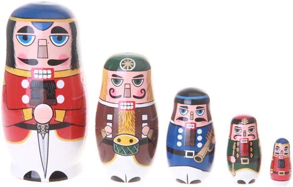 Amor Christmas Russian Wooden Matryoshka Nutcracker Wooden Nesting Dolls Toy Set Handmade Craft
