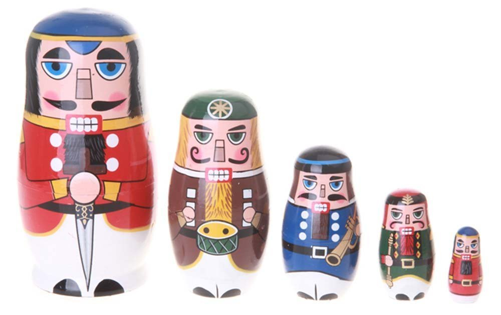 Amor Christmas Russian Wooden Matryoshka Nutcracker Wooden Nesting Dolls Toy Set Handmade Craft Amor Present