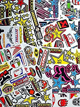 6 sheets of motocross decal stickers #AZK RC models mx bmx bikes scooters mopeds great gift