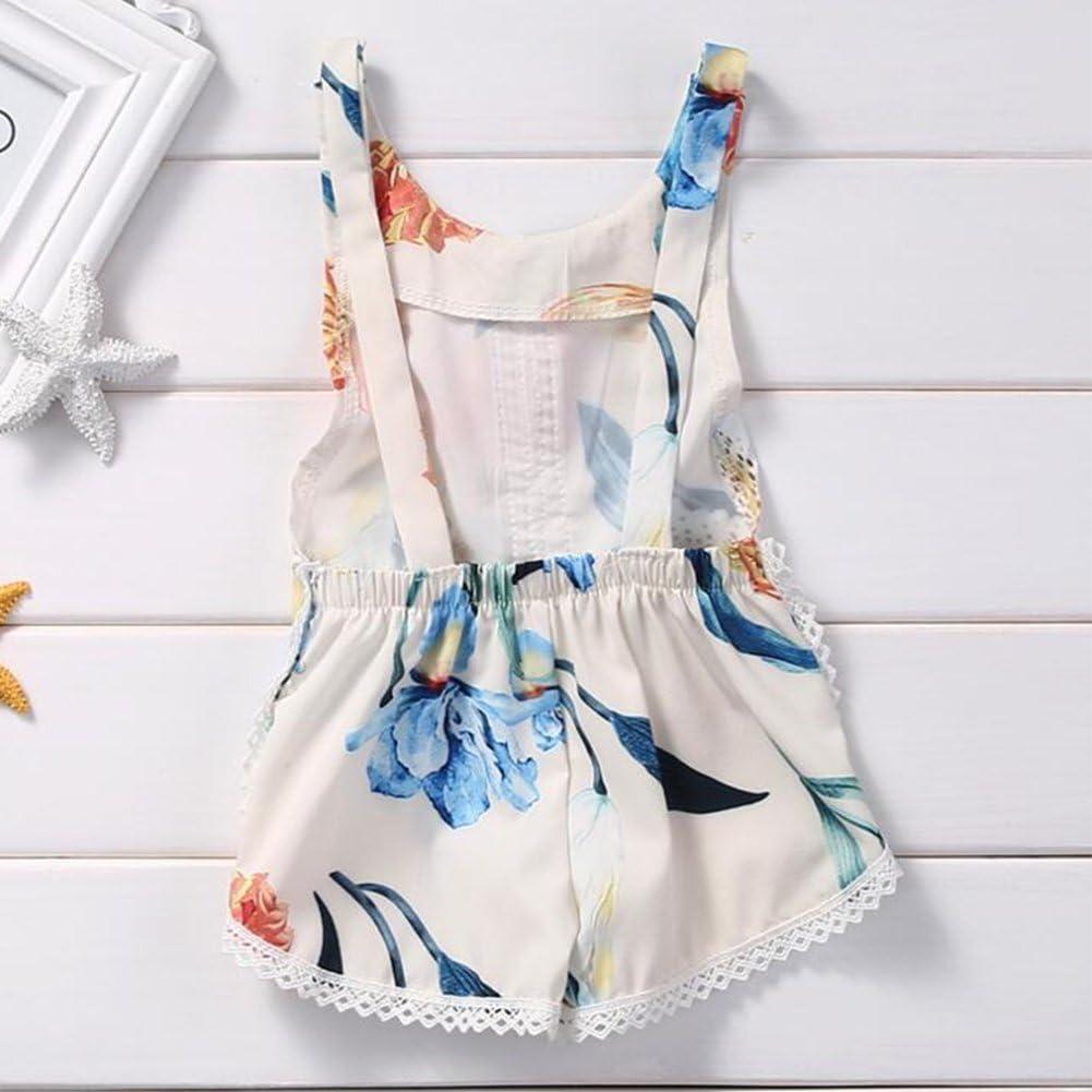 Verypoppa Baby Girls Summer Shorts Romper Jumpsuit Floral Print Sleeveless Vest Tank Playsuit