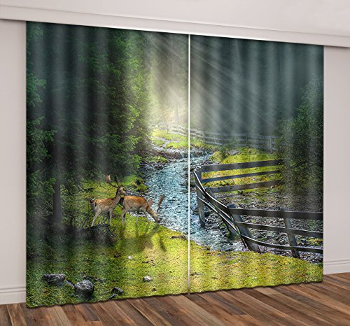 LB Forest Scene Room Decor Blackout Window Curtains,Sun Shone Through the Forest on the Drinking Deer Scene Living Room Bedroom 3D Window Drapes 2 Panels Set,60W x 65L (The Room Scene)
