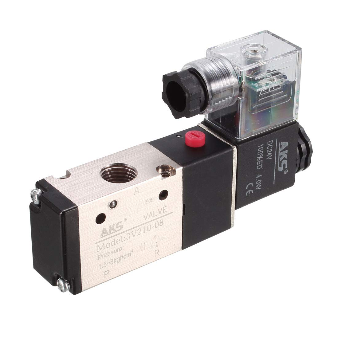uxcell DC 24V 3 Way 2 Position 1//4 inches PT,Pneumatic Air Control NC Solenoid Valve Internally Single Piloted Acting Type,3V210-08
